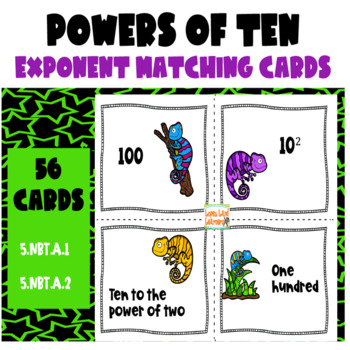 5th Grade Common Core: Powers of Ten (Base 10) Exponent Card Set