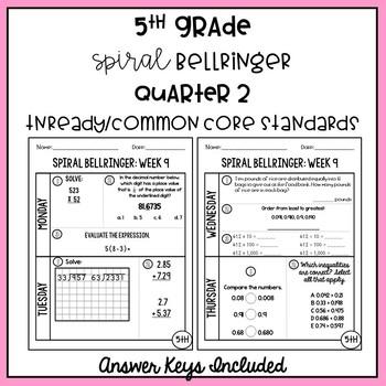 5th Grade TNReady/CCS Daily Spiral Bellringer Review Quarter 2