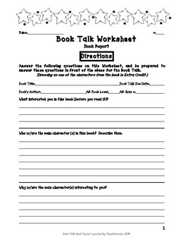 5th Grade Common Core Book Talk Book Report
