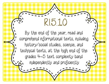 5th Grade Common Core CCSS Labels and Posters Math and ELA-Gingham