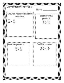 5th Grade Common Core Daily Fraction Practice--5 weeks of practice!