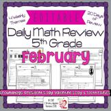 Math Morning Work 5th Grade February Editable, Spiral Revi