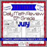 Math Morning Work 5th Grade July Editable