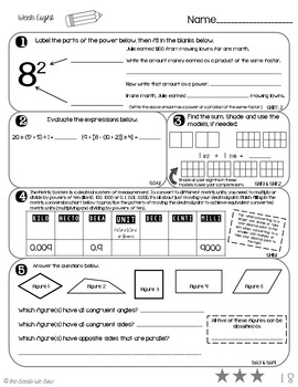 5th Grade Math Review: Weeks 5 - 8