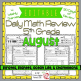 Math Morning Work 5th Grade August Editable