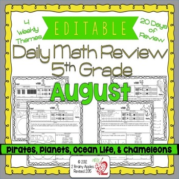 Math Morning Work 5th Grade August Editable