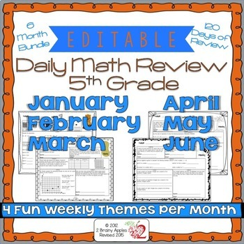 Math Morning Work 5th Grade Bundle Editable