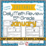 Math Morning Work 5th Grade January Editable