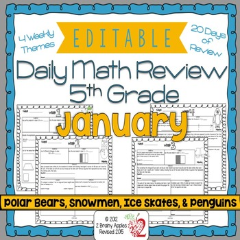 Math Morning Work 5th Grade January Editable