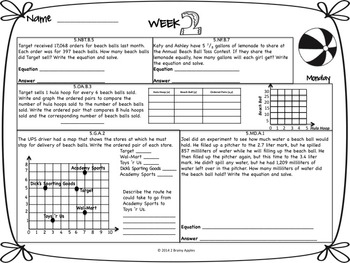 Math Morning Work 5th Grade June Editable