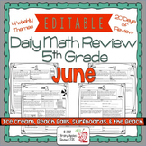 Math Morning Work 5th Grade June Editable
