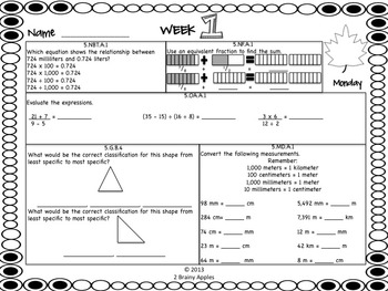 Math Morning Work 5th Grade November Editable