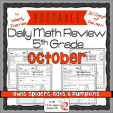 Math Morning Work 5th Grade October Editable, Spiral Revie