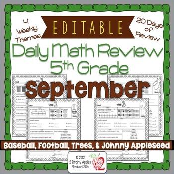 Math Morning Work 5th Grade September Editable