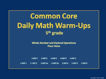 5th Grade Common Core Daily Math Warm-Ups (Operations, Decimals, Place Value)