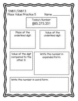 5th Grade Common Core Daily Place Value Review--4 Weeks of Practice!
