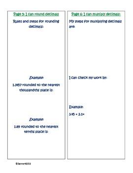 5th Grade Decimals Student/Class Book Assessment/Study Guide/Task