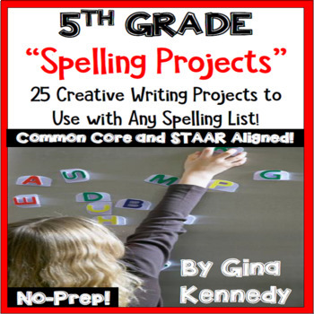 Spelling Projects for 5th Grade! 25 Standards Aligned Projects, Any List!