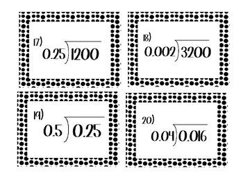 5th Grade Common Core Dividing Decimals Task Cards CCSS 5.NBT.7