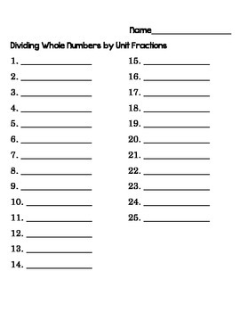 5th Grade Common Core Dividing Whole Numbers by Unit Fractions Task Cards