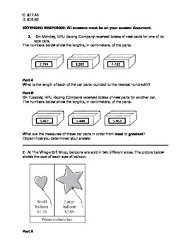 5th Grade Common Core Domain 2 Practice Test and Assessment
