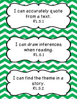 5th Grade Common Core ELA I Can Statement Cards