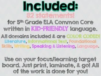 """5th Grade Common Core ELA """"I Can"""" Statements (Chevron)"""