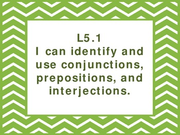 """5th Grade Common Core ELA """"I Can"""" Statements/Learning Targets (Chevron)"""