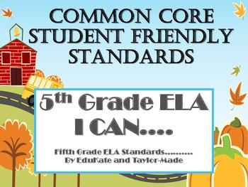 """5th Grade Common Core ELA (Literature) """"I Can"""" Statements-School Theme"""
