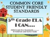 """5th Grade Common Core ELA (Literature) """"I Can"""" Statements-"""