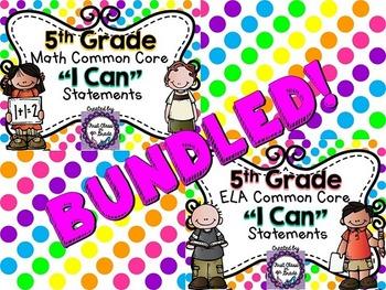 "5th Grade Common Core ELA & Math ""I Can"" Statements (Polka Dot)"