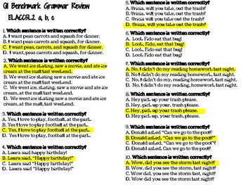 5th Grade Common Core ELA Multiple Choice Practice Worksheets