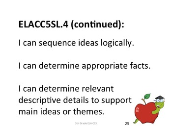 5th Grade Common Core ELA Standards for Posting - Student Friendly Language
