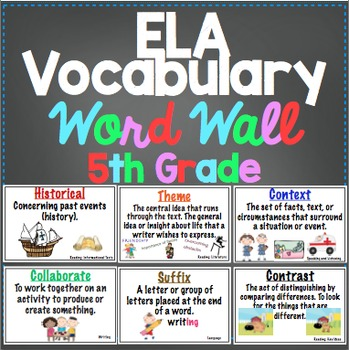 5th Grade Common Core ELA Word Wall and More by Math Mojo | TpT