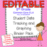Editable Student Data Tracking Binder | Data Graphing: 5th Grade ELA Literacy