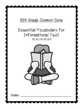 5th Grade Common Core Essential Vocabulary Reading Informational Text (Editable)