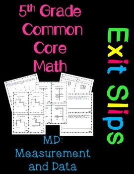 5th Grade Common Core Math Exit Slips Assessment Measurement and Data - 5.MD
