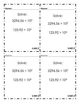 5th Grade Common Core Exit Slips Assessment 5.NBT