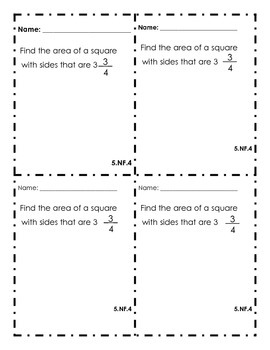 5th Grade Common Core Math Exit Slips Assessment Fractions - 5.NF