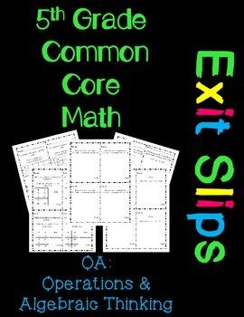 5th Grade Common Core Exit Slips Assessment 5.OA
