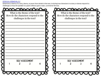 5th Grade Common Core Exit Tickets for Reading Literature Standards