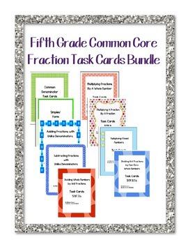 5th Grade Common Core Fraction Task Cards Bundle