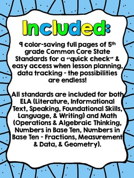 "5th Grade Common Core ""I Can"" Checklist (Ink Saver)"