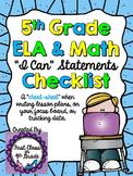 """5th Grade Common Core """"I Can"""" Checklist (Ink Saver)"""