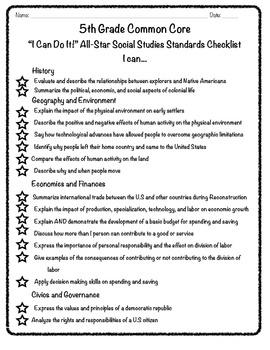 """5th Grade Common Core """"I Can"""" Checklist - Social Studies"""