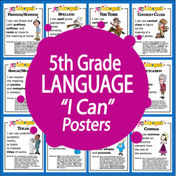 """5th Grade LANGUAGE """"I Can"""" Posters (21 FULL COLOR 5th Grade ELA Posters!)"""