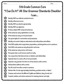 "5th Grade Common Core ""I Can"" Language/Grammar Checklist"