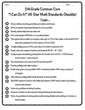 """5th Grade Common Core """"I Can"""" Math Checklist"""