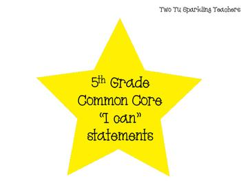 5th Grade Common Core I Can Statements