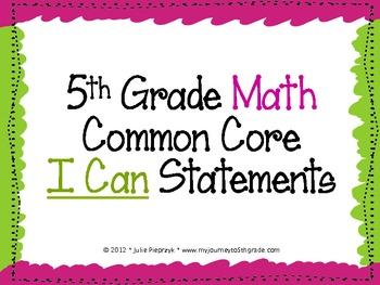 "5th Grade Common Core ""I Can"" Statements for Mathematics"